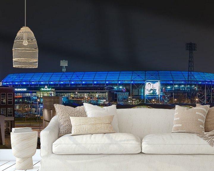 Sfeerimpressie behang: Feyenoord Rotterdam stadion De Kuip at Night - 20 van Tux Photography