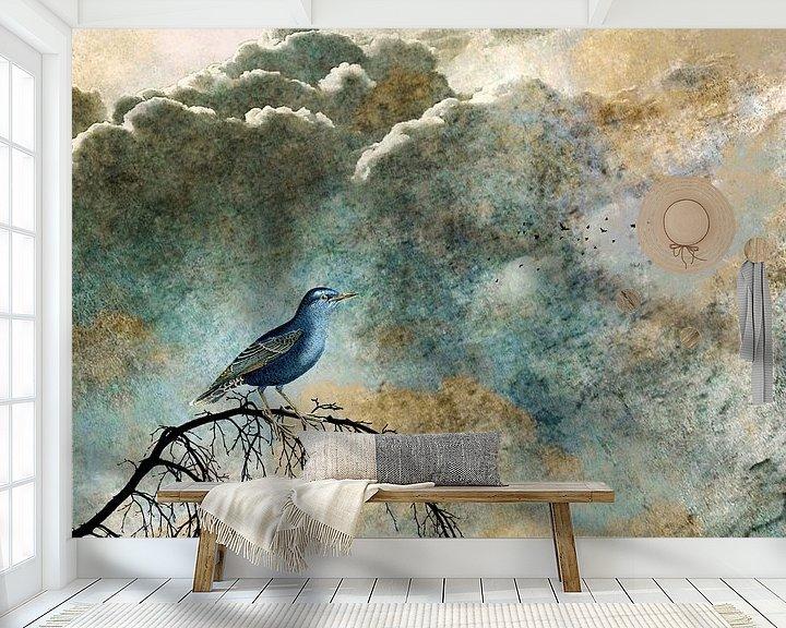 Sfeerimpressie behang:  HEAVENLY BIRD IIa van Pia Schneider