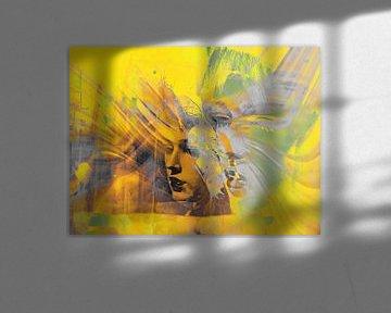 Faces in yellow and grey van Gabi Hampe
