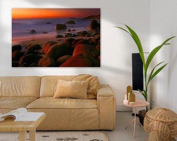 Kleurrijk laatste licht na zonsondergang aan de kust van Kaapstad van Heleen van de Ven