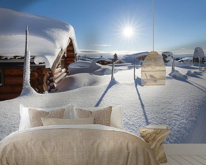 Sfeerimpressie behang: Ondergesneeuw dorp in de buurt van Lillehammer van Rob Kints