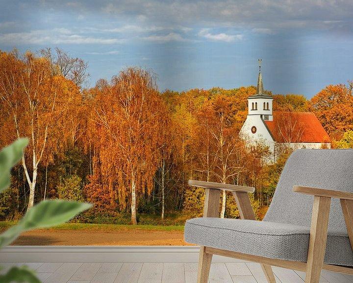 Sfeerimpressie behang: Village church surrounded by autumnal colours van Gisela Scheffbuch