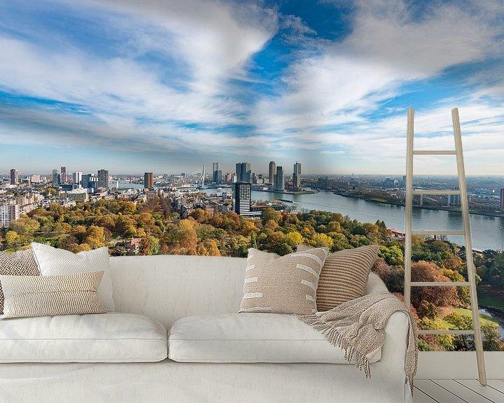 Beispiel fototapete: Die Skyline von Rotterdam in einem weiten Panorama von Rob IJsselstein
