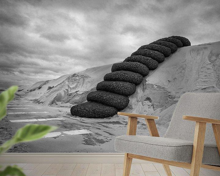 Sfeerimpressie behang: Nieuw recreatiestrand bij de Maasvlakte 2 in Rotterdam. van Daan Overkleeft