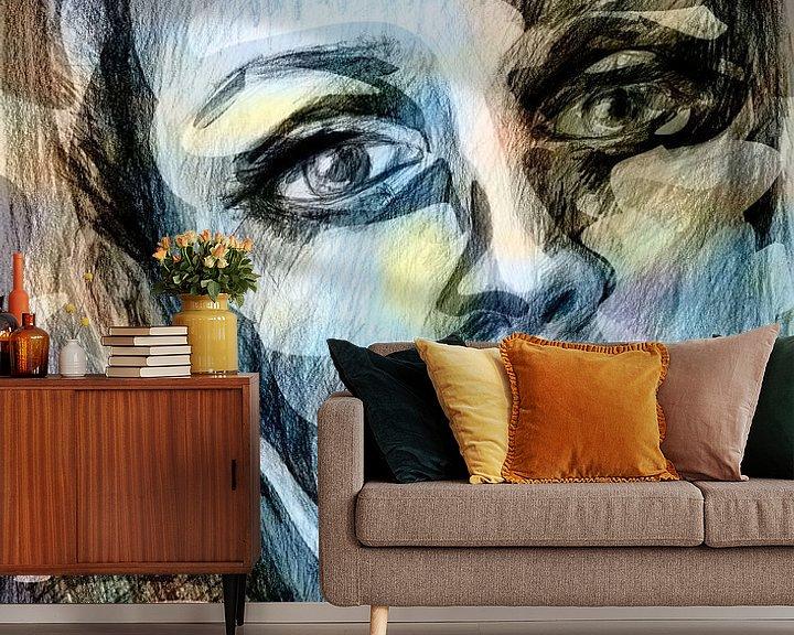 Sfeerimpressie behang: kleurrijk gezicht van een vrouw van ART Eva Maria