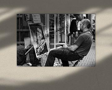 Straatartiest in Amsterdam van Edwin van Laar