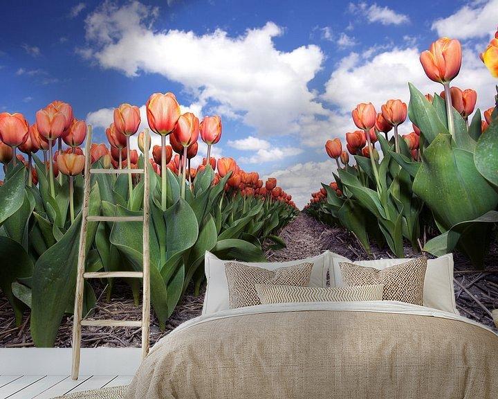 Sfeerimpressie behang: Eindeloze rij rode tulpen van Fotografie Egmond