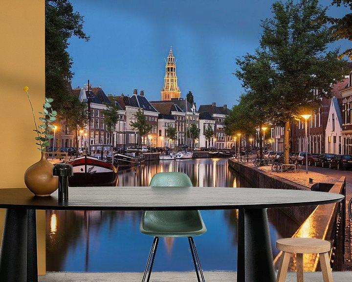 Sfeerimpressie behang: Hoge en Lage der Aa begin van de avond van Iconisch Groningen