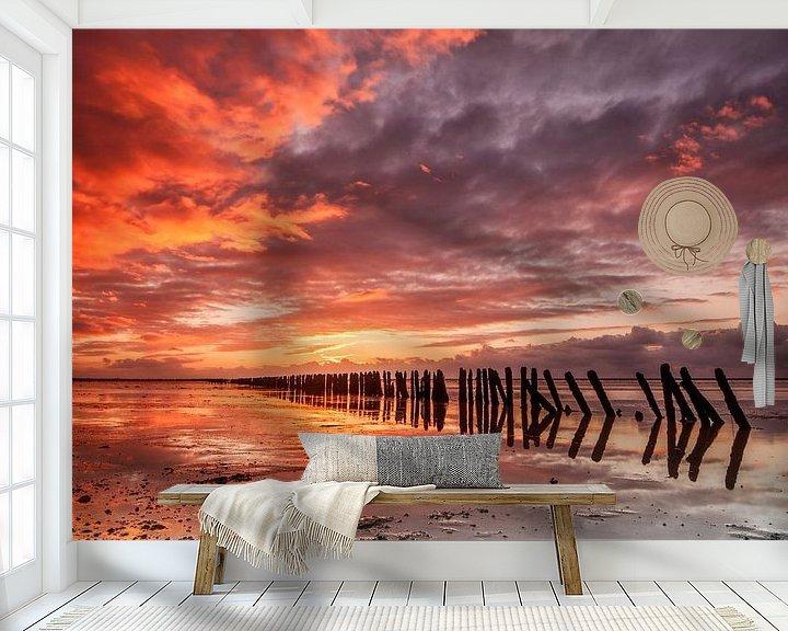 Sfeerimpressie behang: Zonsondergang Ternaard van Peter Bolman