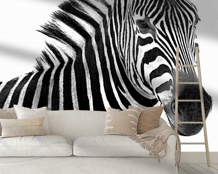 Sfeerimpressie behang: Portret van een zebra in zwart wit van Heleen van de Ven