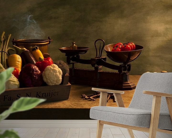 Sfeerimpressie behang: Wikken en wegen met groenten van Henny Brouwers