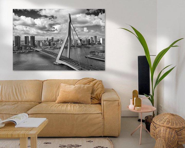 Beispiel: Erasmusbrücke Rotterdam schwarzweiß von Michèle Huge