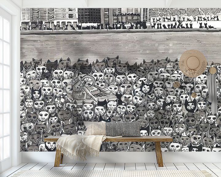 Sfeerimpressie behang: Cats in London van Yvonne Jansen