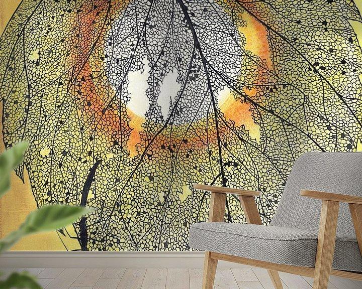 Sfeerimpressie behang: Blaadje van Yvonne Jansen