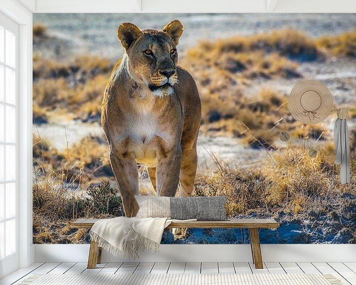 Sfeerimpressie behang: Leeuwin in de ochtendzon in Nationaal Park Etosha, Namibië van Rietje Bulthuis
