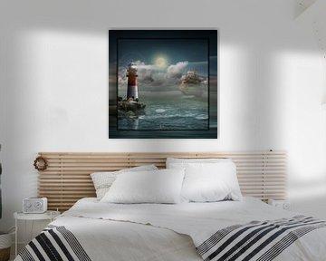 Vuurtoren en zeilboot onder verlichting van Monika Jüngling