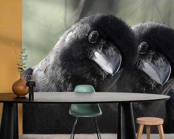 Sfeerimpressie behang: tweeling vogels van Gonnie van Hove