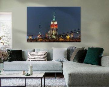 Empire State Building and Brooklyn Bridge  New York van Kurt Krause
