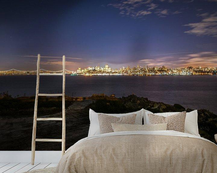 Beispiel fototapete: Night fall San Fransisico von Ton Kool