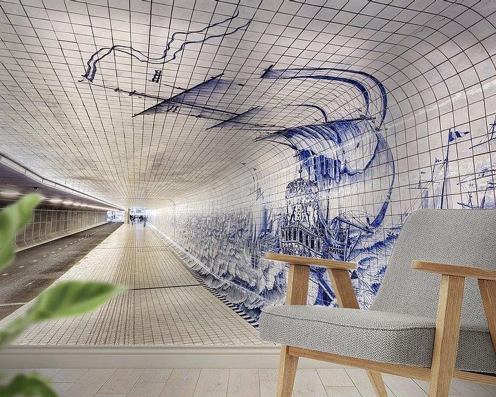 Sfeerimpressie behang: Cuyperspassage fietstunnel van Dennis van de Water