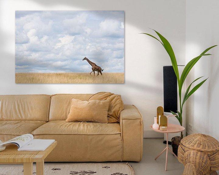 Sfeerimpressie: Giraffe loopt over uitgestrekte vlakte van Caroline Piek
