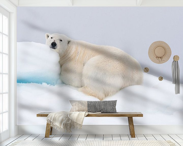 Sfeerimpressie behang: Rustende ijsbeer ligt op heuvel van sneeuw van Caroline Piek