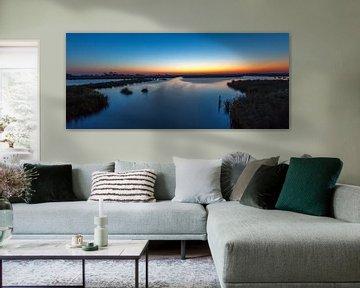 panorama sunset Leekstermeer sur Wil de Boer