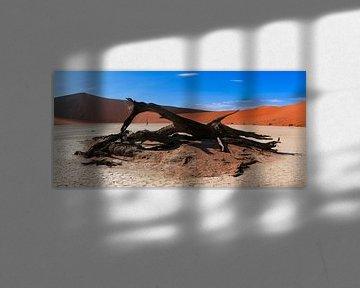 Geblakerd hout in de Deadvlei, Namibië van Rietje Bulthuis