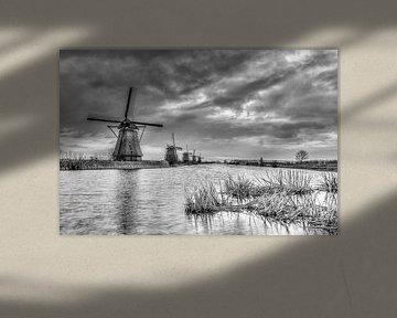 Kinderdijk molens  in zwart-wit van Gijs Rijsdijk