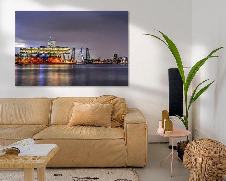 Sfeerimpressie: Rotterdamse bruggen bij avond van Frans Blok
