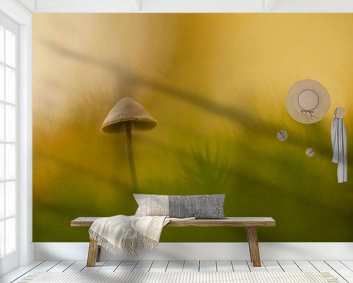 Sfeerimpressie behang: Paddenstoel in gouden herfstlicht van Birgitte Bergman