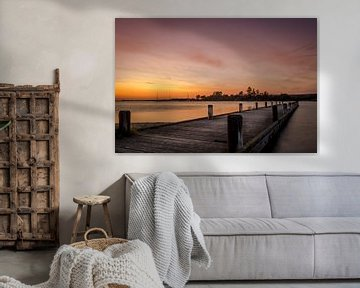 Zonsondergang op het veerse meer. van Bas Holtrop