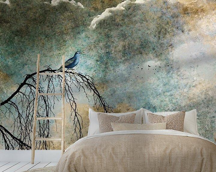 Sfeerimpressie behang: HEAVENLY BIRD IIb van Pia Schneider