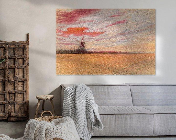 Sfeerimpressie: Noord Hollands landschap met molen  van eric van der eijk