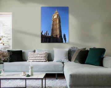 Big Ben tegen een strak blauwe hemel van Patsy Van den Broeck