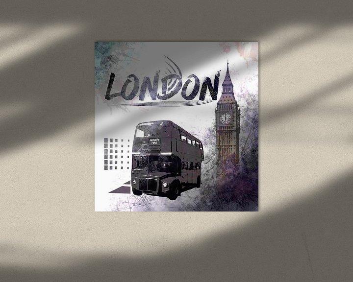 Impression: Digital-Art LONDON COMPOSING Big Ben & Red Bus sur Melanie Viola