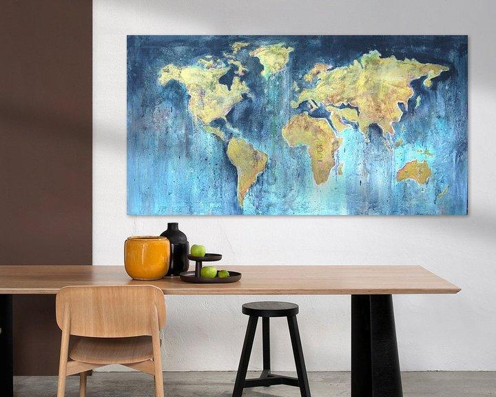 Sfeerimpressie: Worldmap painting van Atelier Paint-Ing