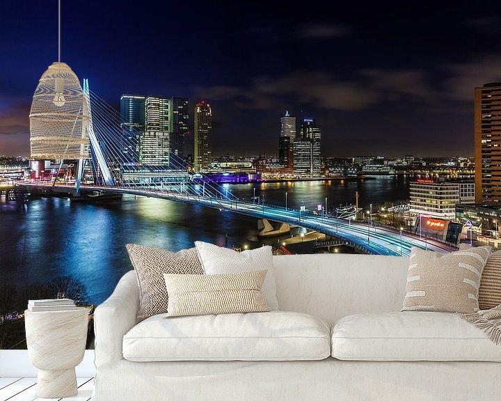 Sfeerimpressie behang: Skyline Rotterdam aan de Maas van Rob van der Teen