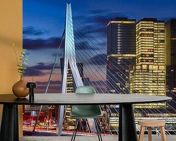 Rotterdam Erasmusbrücke im Morgengrauen von Rob van der Teen