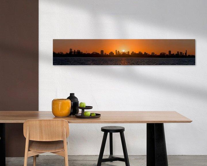 Sfeerimpressie: Panorama zonsondergang Kralingse Plas Rotterdam van Anton de Zeeuw