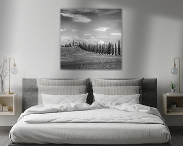 Italië in vierkant zwart wit, Toscane sur Teun Ruijters