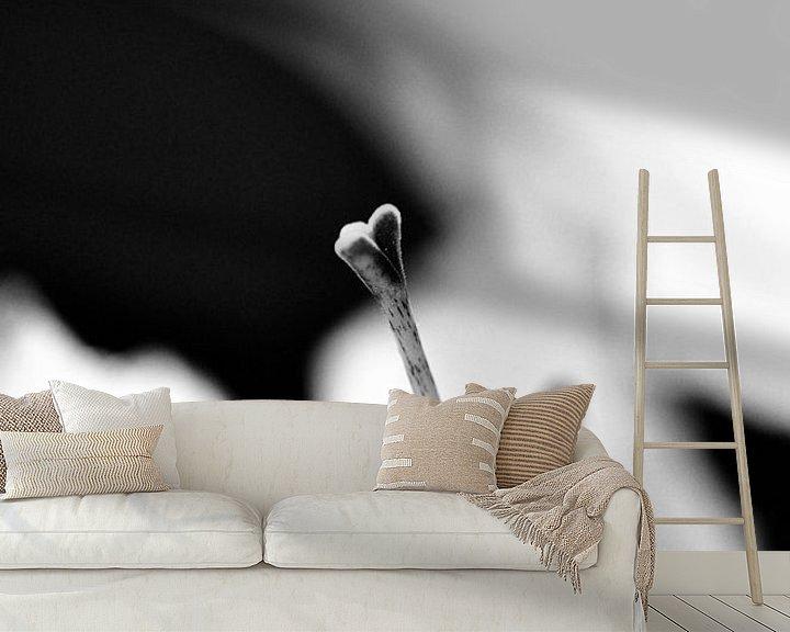 Sfeerimpressie behang: Amarylis hartvormige stamper zwart wit van Mariska van Vondelen