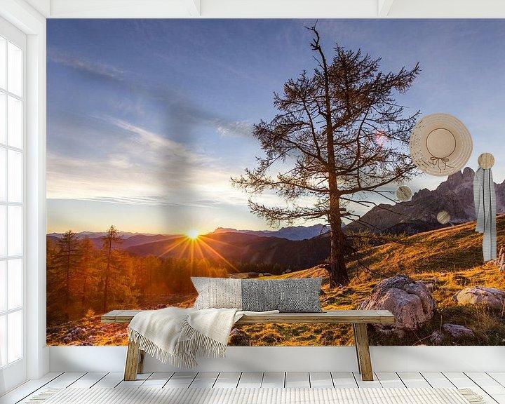 Sfeerimpressie behang: Bergweide met zonsondergang van Coen Weesjes