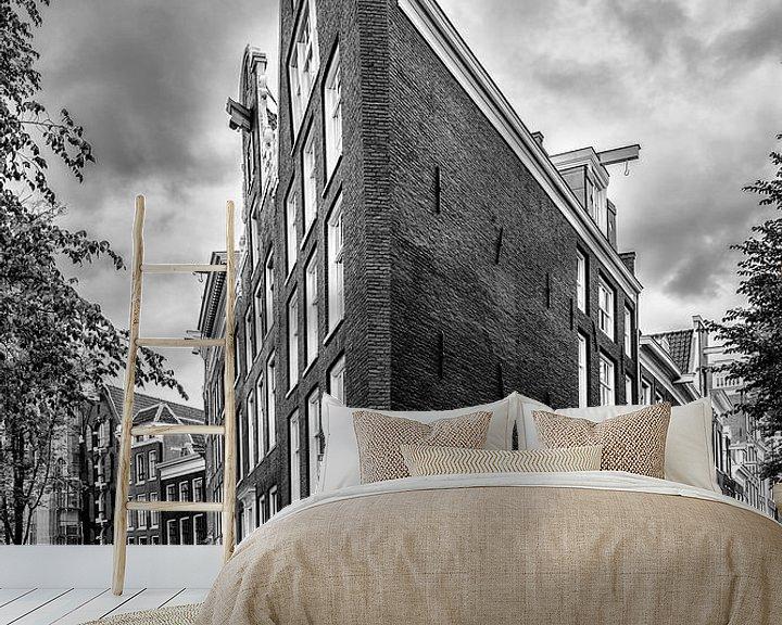 Sfeerimpressie behang: Prinsengracht hoek Bloemgracht in Amsterdam. van Don Fonzarelli