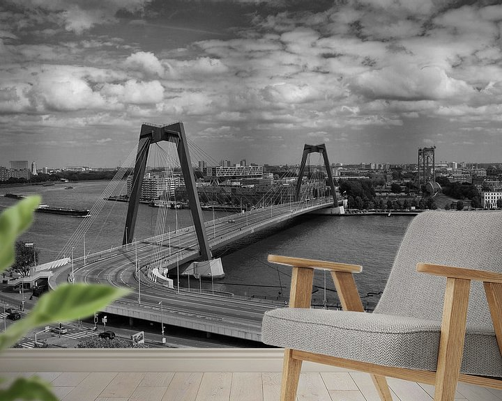 Sfeerimpressie behang: Willemsbrug vanaf het Witte Huis van Ilya Korzelius