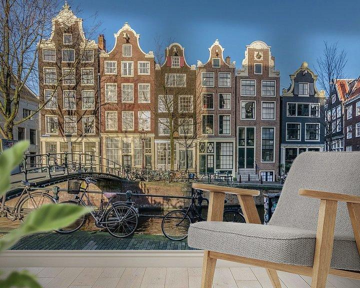 Sfeerimpressie behang: Amsterdamse gevels op de Brouwersgracht. van Don Fonzarelli