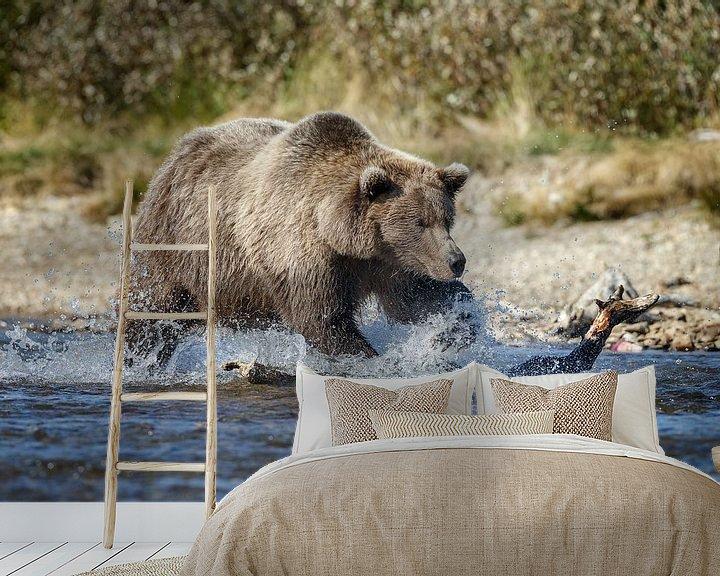 Sfeerimpressie behang: Grizzly beer van Menno Schaefer