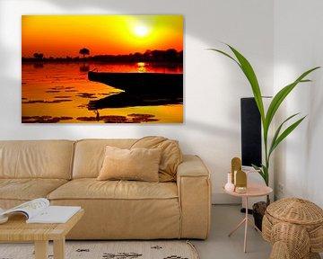 Afrikaanse zonsondergang mokoro von Dexter Reijsmeijer