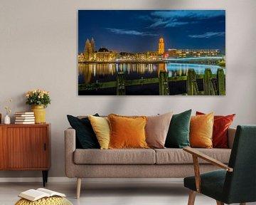 Avondfoto Skyline Zwolle van Martin Bredewold