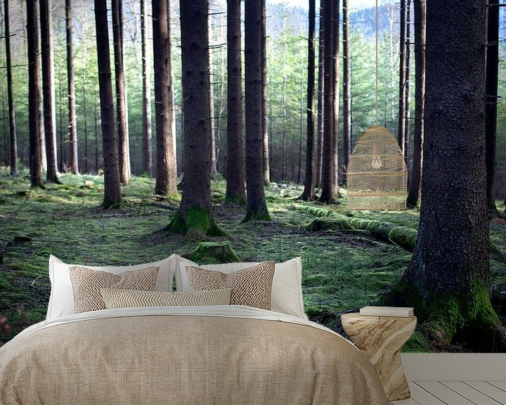 Sfeerimpressie behang: Tussen de bomen in het bos van Fleur Halkema
